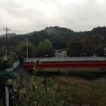 川と橋と山(朝)