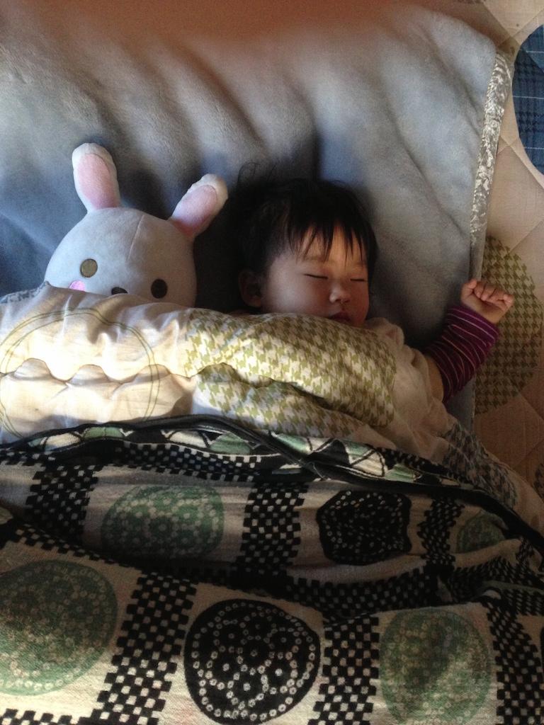 うさぎのぬいぐるみと一緒にすやすや眠る子供